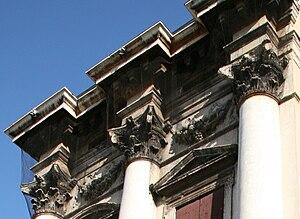 Palazzo Porto in Piazza Castello - The richly modelled entablature of Palazzo Porto in Piazza Castello.