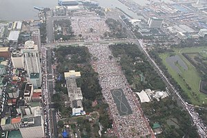Rizal Park - Aerial shot of the Rizal Park during Pope Francis' concluding mass