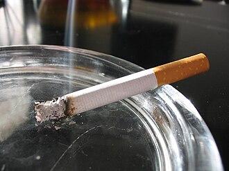 Smouldering - A smouldering cigarette.