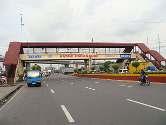 Parañaque - Welcome marker over Dr. A. Santos Avenue near SLEX. Dr. A. Santos Avenue, formerly called Sucat Road, functions as Parañaque's main thoroughfare.