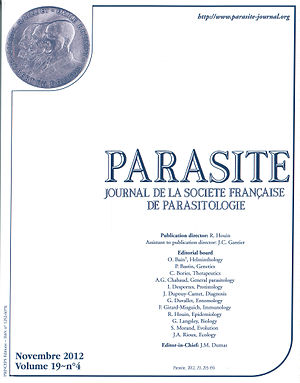 Parasite (journal) - Front page cover of the last issue of Parasite published on paper, Volume 19 (4), November 2012