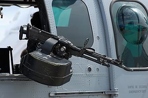 FN MAG - An FN MAG mounted on a Eurocopter EC 725 Cougar MkII at the 2007 Paris Air Show held at Le Bourget airport.