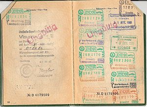 Berlin border crossings - Visa for travel into East Germany with corresponding stamps at the Inner German border and West Berlin border.