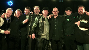 Shane MacGowan and The Popes - Paul (Mad Dog) McGuinness (third in from the right), Anto Morra and others in October 2017 celebrating 35 years since the Pogues played their first gig there.