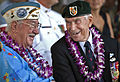 Pearl Harbor survivors Sam Clower, left, and Ab Brum talk during a ceremony commemorating the 71st anniversary of the attack on Pearl Harbor in Pearl Harbor, Hawaii 121207-N-WF272-018.jpg