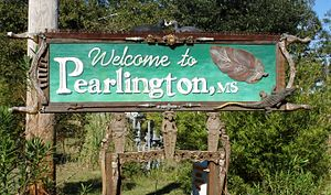 Pearlington, Mississippi - Sign welcoming visitors to Pearlington