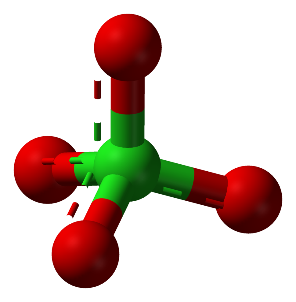 Ball-and-stick model of the perchlorate ion