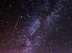 Perseid meteor and Milky Way in 2009.jpg