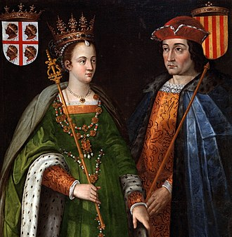 Principality of Catalonia - Petronilla of Aragon and Ramon Berenguer IV, Count of Barcelona, dynastic union of the Crown of Aragon. 16th-century painting by Filippo Ariosto