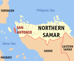 Map of Northern Samar with San Antonio highlighted