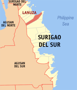 Map of Surigao del Sur with Lanuza highlighted
