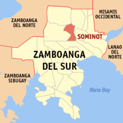Map of Zamboanga del Sur showing the location of Sominot