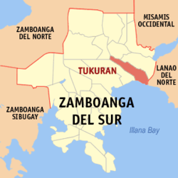 Map of Zamboanga del Sur with Tukuran highlighted