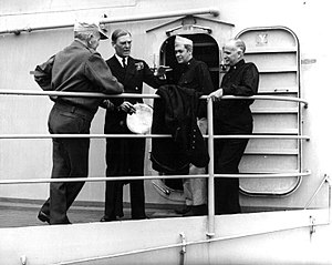 Philip Vian - Philip Vian (2nd from left) with Admiral Halsey aboard USS Missouri, c. mid-1945
