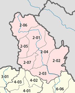 Carte des districts de la province