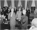 Photograph of Dean Acheson taking the oath of office as Secretary of State, with Chief Justice Fred Vinson... - NARA - 200077.tif
