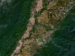 NASA picture of Phrae town among the Phi Pan Nam Mountains