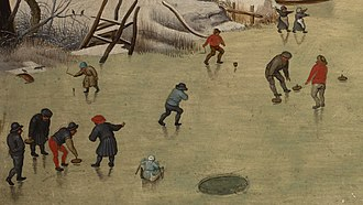 Curling - Detail from a reproduction of Winter Landscape with a Bird Trap (Bruegel, 1565)