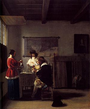 Merry company with two men and two women - Image: Pieter de Hooch The Visit WGA11684