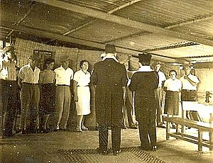 Ga'aton - First wedding at Ga'aton: Six couples married in the communal kitchen, c. 1940
