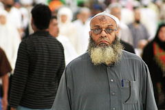 Pilgrim at Masjid al-Haram after Fajr Prayers, Makkah, 6 April 2015.jpg