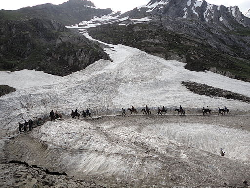 Pilgrims Riding on Ponies on the way to Amarnath