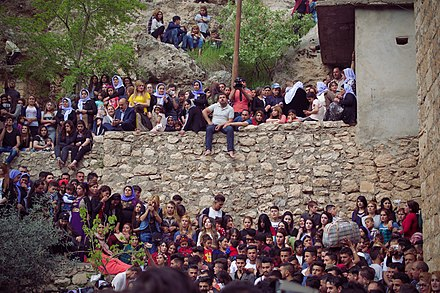 Yazidi pilgrimage to Lalish temple in Iraqi Kurdistan Pilgrims and festival at Lalish on the day of the Ezidi New Year in 2017 10.jpg