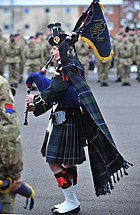 Piper Richard Caffrey of 19th Regiment Royal Artillery at a parade to mark its change of name