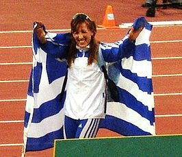 Hrysopiyi Devetzi tijdens de World Cup in Athene in 2006.