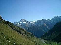 Piz da la Margna, Piz Salacina and Piz Murtaira as seen from south of Septimerpass.jpg