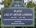 Plaque Place Lise Artur London - Paris XII (FR75) - 2020-10-16 - 2.jpg