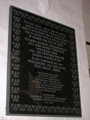 Oliwa Cathedral - Plaque with Lord's Prayer in Kashubian language.
