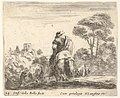 Plate 24- herdsman atop a horse, seen from behind, leads his cattle down a hill, a tower on a hill to left in the background, from 'Diversi capricci' MET DP833171.jpg