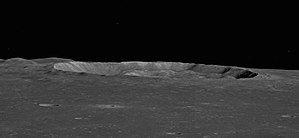 Plinius (crater) - Highly oblique view from Apollo 10, facing northwest.