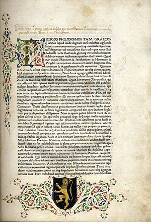 Plutarch - A page from the 1470 Ulrich Han printing of Plutarch's Parallel Lives