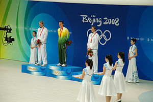 Swimming at the 2008 Summer Olympics – Men's 50 metre freestyle - Image: Podium 50