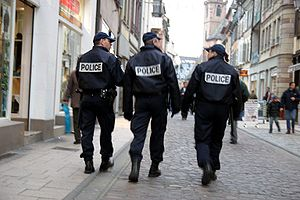 Crime in France - French National Police on a foot patrol.