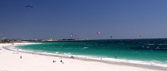 Bathers and kite surfers at Port Beach Port Beach Fremantle.jpg