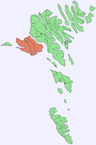 Vágar - Image: Position of Vágar on Faroe map