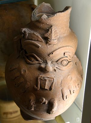 Twenty-sixth Dynasty of Egypt - Image: Pottery vessel. Applique face of god Bes on surface. Pink brown ware. From Egypt. 26th Dynasty. The Petrie Museum of Egyptian Archaeology, London