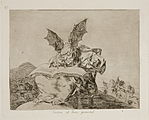 Sitting on a rock, a monstrous winged devil writes a book, perhaps a book of fate, or a book of evil.