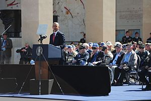 Timeline of the presidency of Barack Obama (2014) - President Obama speaks to approximately 10,000 attendees at the Normandy American Cemetery, June 6, 2014