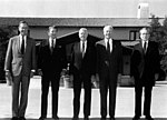 President George H. W. Bush poses for a photograph with four of his predecessors.jpg