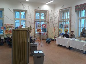 Czech presidential election, 2013 - Second round at Štěpánská Elementary, Prague, Czech Republic