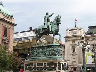 Mihailo Obrenović - The statue of Prince Mihailo on Republic Square in Belgrade.