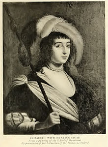 Elisabeth of Bohemia-Palatinate with hunting spear from A Sister of Prince Rupert by E. Godfrey. According from the text the original painting this photo is based off of is in the Library of Bodleian Oxford in the School of Honthorst.