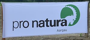 Pro Natura (Switzerland) - Banner with the logo of Pro Natura (representing the head of an Alpine ibex).