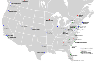 2011 in American soccer - The professional soccer clubs of the United States and Canada, year 2011. Not pictured: NASL or USL Pro clubs based off the mainland.