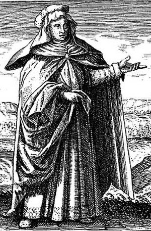 Mary the Jewess - Engraving depicting Maria Prophetissima from Michael Maier's book Symbola Aurea Mensae Duodecim Nationum (1617).