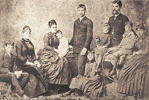 Prudente de Morais - Morais Family, from left to right: Prudente Filho, Maria Amélia, Adelaide (wife), Paula, Gustavo, Carlota, Maria Teresa, Prudente, Antônio and Julia, c. 1875.